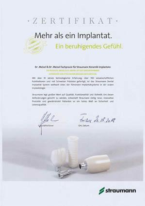 Straumann Zertifikat Implantologie - Zahnärzte Dres. Meisel Nürnberg